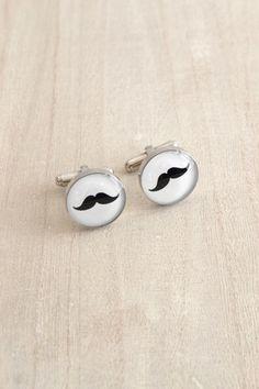 White Truffle Studio — Mustache Cufflinks groom  #accessories  gift