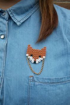 Hama bead fox Brooch by TokyoSugoi on Etsy