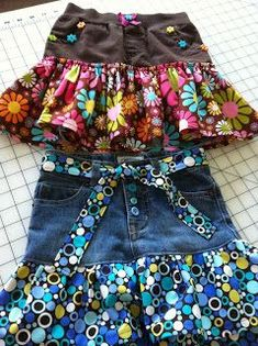 Buttons, Bows & Bling: Blue Jean Shorts to Skirt Part - 2
