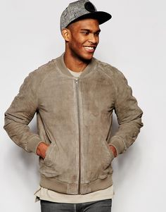 ASOS+Suede+Bomber+Jacket+in+Stone