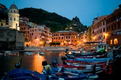 Vernazza harbor at dusk. This was where we had our last dinner in Vernazza
