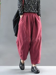 Gender: Women Item Type: Pants Material: Cotton,Linen Pattern Type: Solid Theme: Autumn, Spring Occasion: Daily Style: Casual, LooseSize: One Waist: Autumn Fashion Women Fall Outfits, Fashion Outfits, Women's Fashion, Winter Quilts, Linen Pants, One Piece Swimwear, Wide Leg Pants, Cotton Linen, Daily Fashion