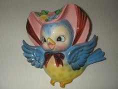 Vintage Lefton Bluebird Wall Pocket, A ++ Condition | eBay
