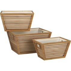 Bamboo Storage Totes with Liners Set of Three in Bed & Bath | Crate and Barrel