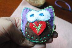 Handmade Felt Owl Hand warmers