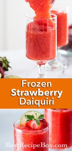 Our Frozen Strawberry Daiquiri recipe is the absolute best. Beat the heat this Summer with the refreshing cocktail. Strawberry Daiquiri Recipe, Fresh Strawberry Recipes, Strawberry Drinks, Easy Summer Desserts, Summer Dessert Recipes, Drinks Alcohol Recipes, Yummy Drinks, Drink Recipes, Daiquiri Cocktail