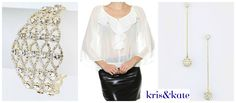 Sexy sheer white blouse with the perfect festive accessories for a Holiday Ensemble.  Available only today at 50% OFF!  https://www.krisandkate.com/dealoftheday.html