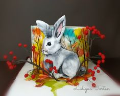 Hand painted cake (Bunny) - cake by Lidiya Petrova Purple Wedding Cakes, Wedding Cakes With Flowers, Elegant Wedding Cakes, Elegant Cakes, Wedding Cake Designs, Wedding Cake Toppers, Flower Cakes, Gold Wedding, Bunny Supplies