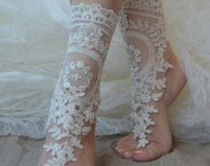 lace barefoot sandals beach wedding barefoot sandals by UnionTouch Beach Wedding Sandals, Bridal Sandals, Beach Anklets, Bridal Shoes, Bride Gloves, Wedding Gloves, Wedding Lace, Colorful Wedding Shoes, Bare Foot Sandals