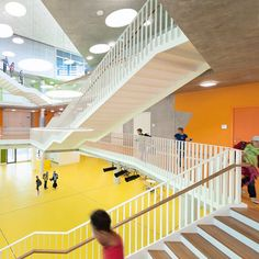 Beautiful school space. Common thread with other education architecture is the need for open space, alternative space (pullout rooms, etc.) and cross-space views (thus providing connection views).