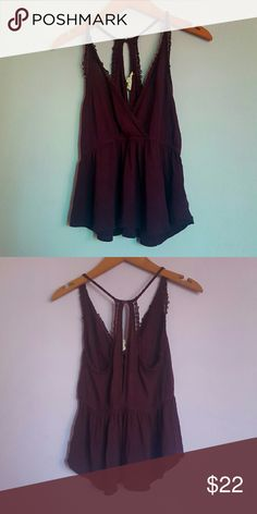 Burgundy Peplum Tank Cross Over Top Embroidered Details Racerback Stretch Fit Size Small Brand: LA Hearts PacSun Tops Tank Tops
