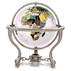 The Opal Gemstone Globe with Commander Silver Stand is a great choice for a decorative globe. Manufactured with some of the best quality semi-precious gemstones.