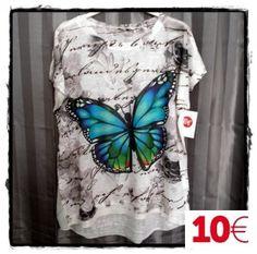 Camiseta estampada mariposa leyenda