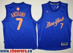 Men's York Knicks #7 Carmelo Anthony Adidas Royal Blue 2016 Christmas Day Stitched NBA Swingma