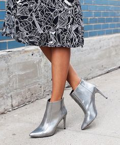 Silver booties.