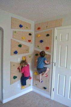 DIY climbing wall, to keep them active & occupied! http://thecreatedhome.com/diy-climbing-wall/