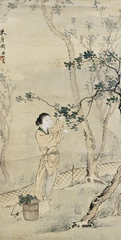 Fei Danxu (1802-1850). MAIDEN. Ink and color on silk Impressionist, Modern Art, Vintage World Maps, Auction, Chinese, Silk, Prints, Painting, Color