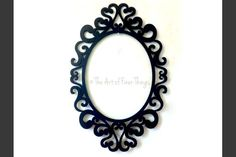 Black Open Back Ornate Frame fits 5x7 gallery wall laser cut wood frame - black oval picture frame