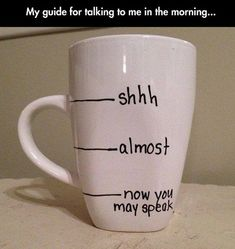 A guide for talking to me in the morning.