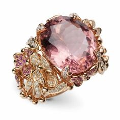 "Diamond Rings 2017 / 2018 : Image Description Kunzite, diamond and sapphire ""Shangri-La"" ring by Green G – unique jewelry I Love Jewelry, Jewelry Box, Jewelry Accessories, Fine Jewelry, Jewelry Design, Unique Jewelry, Jewlery, Star Jewelry, Indian Jewelry"