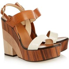 Jimmy Choo Notion leather and wood wedge sandals (45.740 RUB) ❤ liked on Polyvore featuring shoes, sandals, heels, wooden heel sandal, wedge heel sandals, wedge heel shoes, slingback sandals and wedges shoes