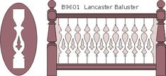 B9601 Lancaster flat sawn balusters, railings and 13010 posts