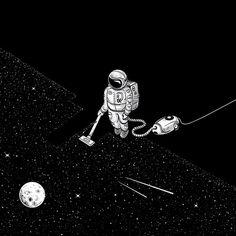 Space Cleaner by Robert Richter #space #universe #across #explore #galaxy #moon #astronaut #cosmonaut  #espaço #universo #exploração #galáxias #mundos #lua #astronauta #cosmonauta #spaceman   #Nasa #Art #Print Aesthenia Art #Print #Astronaut