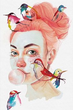 Ana Santos: illustration with watercolor, constellations, animals and faces Art And Illustration, Portrait Illustration, Watercolor Illustration, Watercolor Art Face, Watercolor Portraits, Watercolor Paintings, Gcse Art Sketchbook, Portrait Art, Medium Art