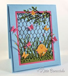KC Impression Obsession--My project today was made using Alesa Baker's Chicken Wire Background paired with the Egg Set, Tall Grass, Grass Border, Small Grass Border, Leafy Branch and Butterfly Set.  When I saw this chicken wire background I thought it would be such a cute background for an Easter chick scene with lots of color.
