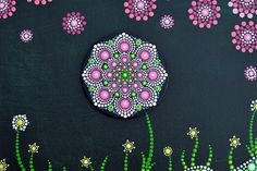 Mini Mandala Flower-cherry-hand painted on canvas original