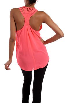 The Texas Cowgirl - Neon Pink Twisted Back Tank Top , (http://www.thetexascowgirl.com/neon-pink-twisted-back-tank-top/)