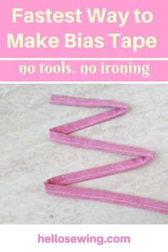 Make MASK TIES the Easy Way. No tools. No ironing required - Make bias tape, bias binding or ties for masks the easy way! Learn this handy trick and make masks faster! Sewing Projects For Beginners, Sewing Tutorials, Sewing Hacks, Sewing Crafts, Sewing Tips, Dress Tutorials, Techniques Couture, Sewing Techniques, Make Bias Tape