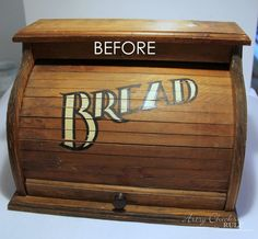 Create this dated old bread box turned fabulous French Farmhouse Bread Box! Easy with a little paint and permanent markers! Farmhouse Bread Boxes, Wooden Bread Box, Vintage Bread Boxes, Diy Furniture Projects, Diy Wood Projects, Furniture Makeover, Chalk Paint Projects, Rustic Trunk Coffee Table, Checkerboard Table