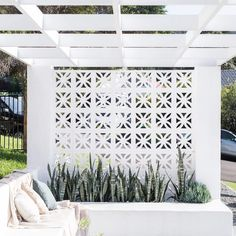 Breeze blocks, backyard, Fig Landscapes https://emfurn.com/collections/accent-chairs