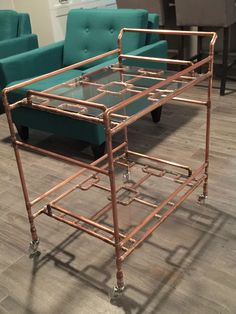 "Find out even more details on ""bar cart decor inspiration"". Browse through our internet site. Diy Bar Cart, Gold Bar Cart, Bar Cart Decor, Bar Cart Styling, Copper Bar Stools, Copper Shelf, Pipe Decor, Pipe Furniture, Copper Furniture"