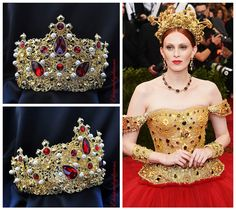 Red Renaissance Crown Baroque Tiara  by Elviejewelrydreams on Etsy
