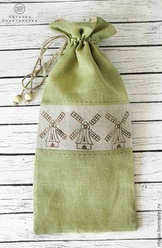 Handmade line bag /  Льняной мешочек для хлеба - оливковый, серый, русский стиль, мешочек, мешочек для хлеба, мешочки