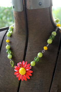 Red Necklace Ladybug Vintage Jewelry Flower Necklace by belmonili, $36.00