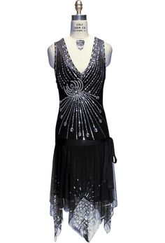 The Socialite - Art Deco Crystal Gown - Black Jet