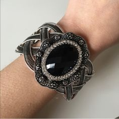 Black Gem and Rose Silver Bangle Cuff. Brand new, silver plated base metals.                 Nickel and lead free. T&J Designs Jewelry