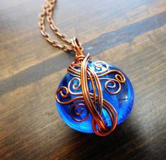 Blue Necklace Jewelry for Girlfriend Gift, Wife Mom , Unique Wire Wrap, Copper Pendant, Present for Her, Artistic Wrapped, Artisan Crafted #wirejewelry