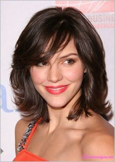 nice Medium length haircuts with side swept bangs and layers