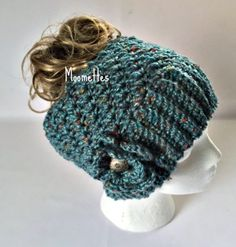 Handmade Messy Bun Hat Tweed Blue Beanie Wood Button Crochet Flower Pony Tail Teens Women