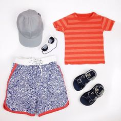 #ootd featuring the serenity s/s tee #toobydoo board shorts, ball style summer hat, baby opticals and #saltwatersandals