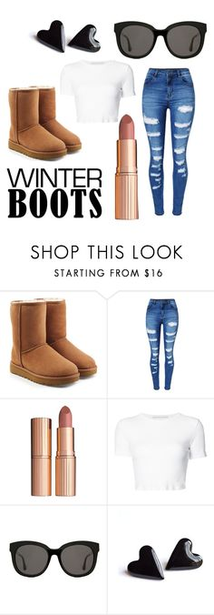 """""""Winter boots XD"""" by thatphangirl ❤ liked on Polyvore featuring UGG, WithChic, Charlotte Tilbury, Rosetta Getty, Gentle Monster and winterboots"""