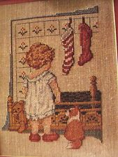 "Cross Stitch ""WAITING FOR SANTA"" Christmas pattern - child, puppy, stockings"