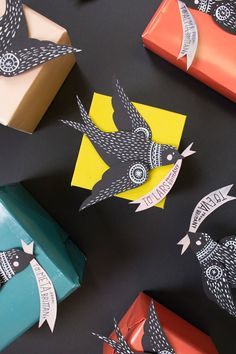 You searched for bird gift topper - The House That Lars Built Creative Gift Wrapping, Wrapping Ideas, Creative Gifts, Easy Diy Crafts, Crafts For Kids, Paper Birds, Envelopes, Gift Packaging, Diy Gifts