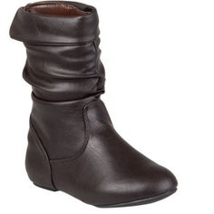 Brinley Co Kids Girl's Slouchy Accent Boots, Size: 11, Brown