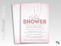 """These lovely pink Baby Shower invitations feature a pretty soft pink background, sparkly rain drops, and """"Shower"""" filled with an image of pink glitter."""