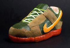 a shoe made from fruit peels